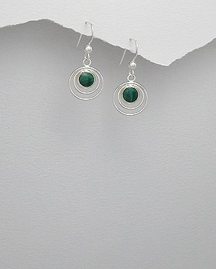 Sterling Silver Circle in Circle Green Malachite Dangle Hook Earrings