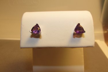 1.3 ct Amethyst Sterling Silver Trillion Stud Earrings February Birthstone