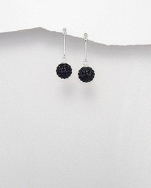 Sterling Silver Straight Black Crystal Orb Ball Dangle Butterfly Stud Earrings