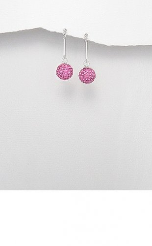 Sterling Silver Straight Pink Crystal Orb Ball Dangle Butterfly Stud Earrings