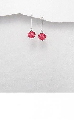Sterling Silver Straight Rose Crystal Orb Ball Dangle Butterfly Stud Earrings