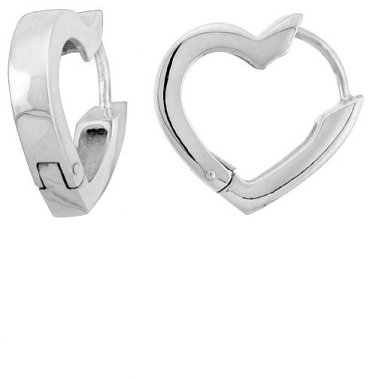 925 Sterling Silver Heart Hoop Huggy Huggie Earrings