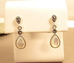 Marcasite Mother of Pearl Sterling Silver Dangle Butterfly Stud Earrings
