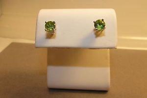2ct Green Round Peridot 925 Sterling Silver Stud Earrings August Birthsone