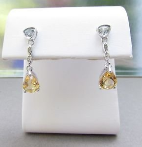 2 Ct Citrine, Blue Topaz and Diamond Sterling Silver Drop Stud Earrings