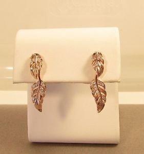 14K Pink Gold Vermeil Leaf C Z 925 Sterling Silver Dangle Butterfly Earrings