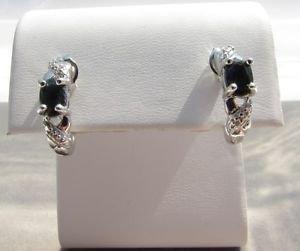 Genuine Sapphire Sterling Silver Stud Earrings w/Genuine White Diamond