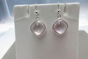 Rose Quartz 925 Sterling Silver Hook Dangle Earrings