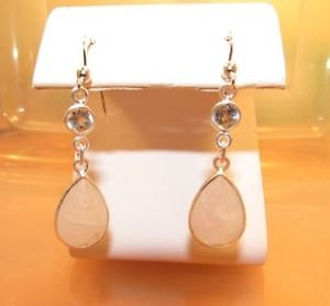 Gorgeous Moonstone and Round Blue Topaz Sterling Silver Dangle Hook Earrings