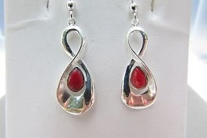 Red Resin Infinity 925 Sterling Silver Dangle Hook Earrings