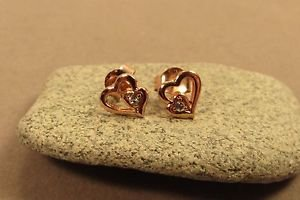 Pink Heart Gold Vermeil Sterling Silver Butterfly Stud Children's Earrings