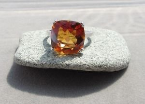 6.4 Ct Azotic Topaz and Diamond Sterling Silver Cushion Cocktail Ring