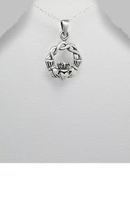 925 Sterling Silver Celtic Claddaugh Friendship Love Pendant Necklace 18in Chain