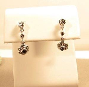 Marcasite Black Onyx Sterling Silver Dangle Butterfly Stud Earrings