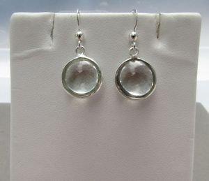 Stunning Round Green Amethyst 925 Sterling Silver Hook Drop Dangle Earrings