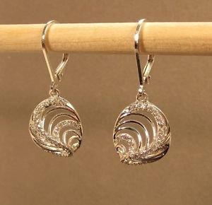 Sterling Silver Swirl C Z Drop Dangle Leverback Earrings