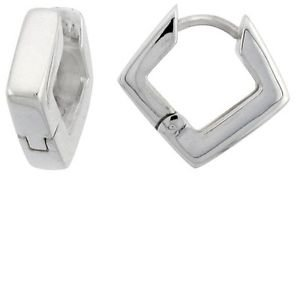 Small Huggie Hoop Diamond Shape  925 Sterling Silver Huggy Earrings