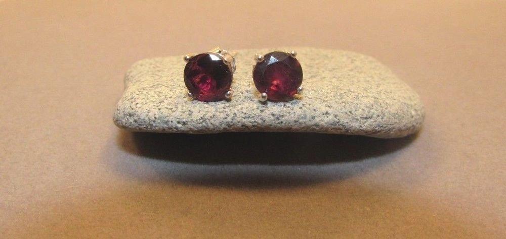 2.9 Ct Garnet Sterling Silver w/ Platinum Butterfly Stud Earrings Round Cut
