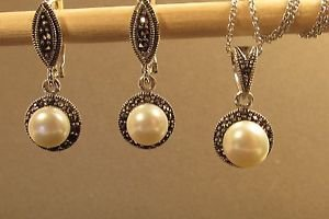 Fresh Water Pearl Sterling Silver Marcasite Drop Dangle Omega Earrings, Pendant