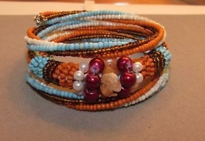 Seed Bead Fashion Glass Pearl and Shell Fancy Coil Bracelet