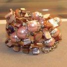 Glass Pearl Shell Coil Bracelet Seed Bead cuff bangle Handmade Indonesian