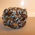Handmade Indonesian Seed Bead Braided Twist Bracelet Wire Bangle Cuff Glass