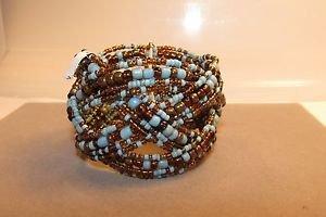 Handmade Indonesian Seed Bead Braided Twist Bracelet Wire Bangle Cuff Glass