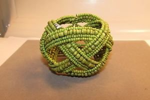 Handmade Indonesian Seed Bead Braided Bracelet Wire Bangle Cuff Glass Bead