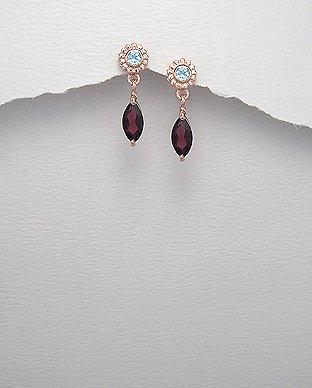 2CT Garnet Blue Topaz Sterling Silver Pink Vermeil Drop Earrings January Birthst