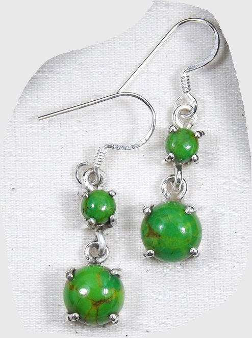 Round Green Turquoise Cab Sterling Silver Drop Dangle Earrings