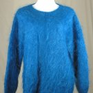 NEW*HAND KNIT*MOHAIR*PULLOVER SWEATER*ELECTRIC*IRIDESCENT* BLUE TEAL COBALT*LARGE/OVERSIZED*