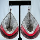 "NEW*VINTAGE*1990*PERU*HANDMADE*OVERSIZED*3""L x 2.25""*THREADED TEAR DROP DANGLE EARRINGS*"