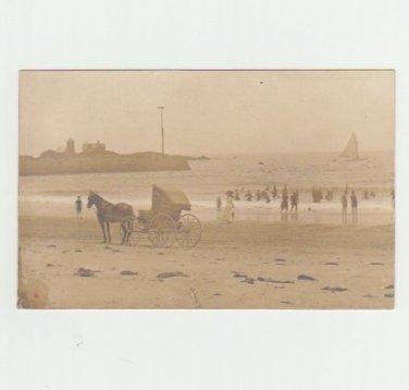Horse and Beach Bathers - Vintage Postcard - Real Photo - Seashore