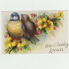 Blue Bird and Wren Yellow Flowers - Vintage Postcard - 1910 - Used