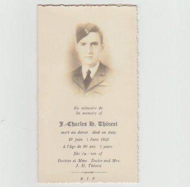 Memorial Card Soldier Death Notice 1942 - Paper Ephemera