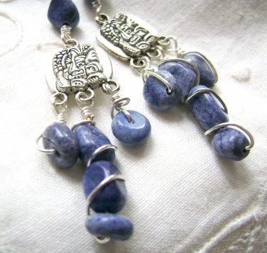 Denim Blue Earrings - Sodalite Stone Nuggets - Handmade Tribal Style