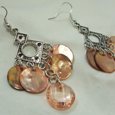 Geometric Peach MOP Chandelier Earrings
