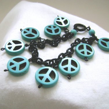 Peace Charm Bracelet Turquoise Charms and Black Chain Handmade - 8 inches