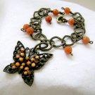 Butterfly Charm Bracelet Orange Aventurine - Antiqued Brass Chain