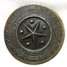 Raised Star Brooch / Shawl Pin - Circle - Antiqued Brass Finish
