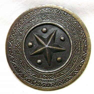 Raised Star Brooch / Shawl Pin - Circle - Antiqued Brass Finish