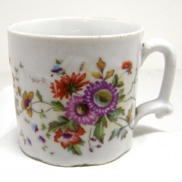 Antique Child's Cup - Floral Red Purple Yellow - Dainty Ceramic Pottery - Miniature Toy Mug