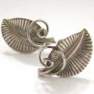 Bond Boyd Sterling Silver - Leaf and Vines Screw Back Earrings - Modernist Abstract