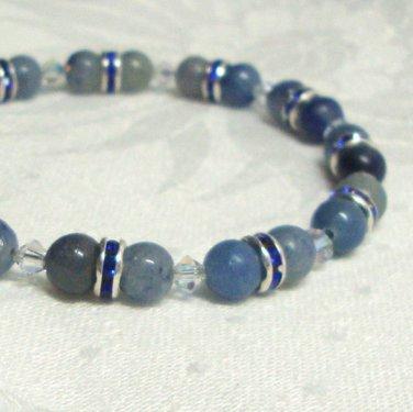 Blue Aventurine and Swarovski Crystallized Elements Beaded Bracelet Sterling