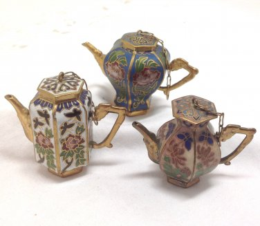 Mini Ornamental Teapots - Lot of 3 -  Blue White Beige with Flowers and butterflies