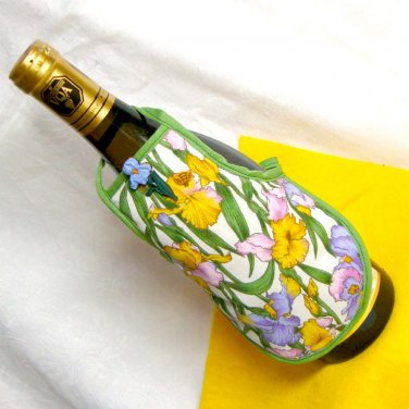 Handmade Bottle Cozy - Iris Bottle Apron in Lilac Pink and Gold Fabric Spring Flower