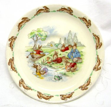 Royal Doulton Bunnykins Saucer - Playing on the River - SF16 - Made in England
