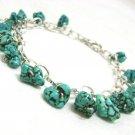 Handmade Turquoise Nugget Charm Bracelet - silvertone dainty summer wear