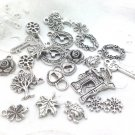 Charms Silver Tone Metal 24 for Jewelry Scrapbooking or Crafts