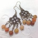 Agate Earthy Beaded Chandelier Earrings - Antiqued bronze swirls